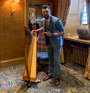 Elliot Bibby Edinburgh Magician with Harp